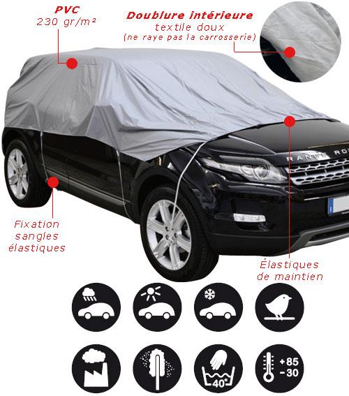demi housse protection pour voiture en pvc 2vs ebay. Black Bedroom Furniture Sets. Home Design Ideas
