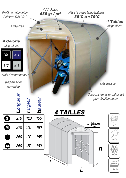 abri protection moto et scooter Motobox Tunnel