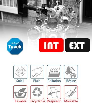 Baches de protection Motos & Scooters pour un usage mixte extérieur/intérieur : choisissez Tyvek