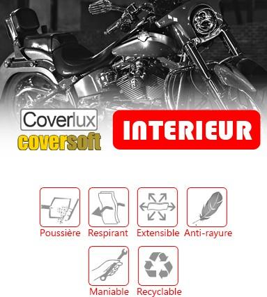 Baches de protection Motos & Scooters pour un usage en intérieur : choisissez Coverlux ou Coversoft